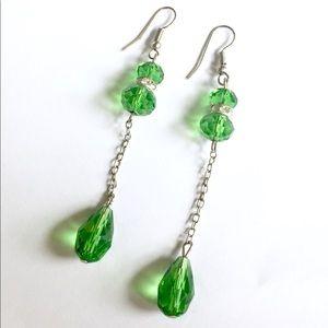 Green crystal glass dangle earrings